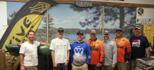 Competitors who caught qualifying fish in River Bassin Tournament Trail - Saline event from left to right:  Kyle Moxon, Cameron Simot, Chris Lemessurier, Richard Ofner, Aaron Rubel, Paul Biediger, Mike Hurst