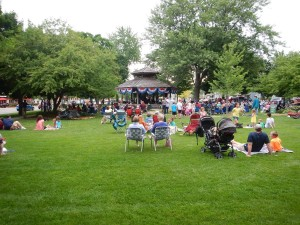 Music in the park on a Friday evening in Dexter, Michigan